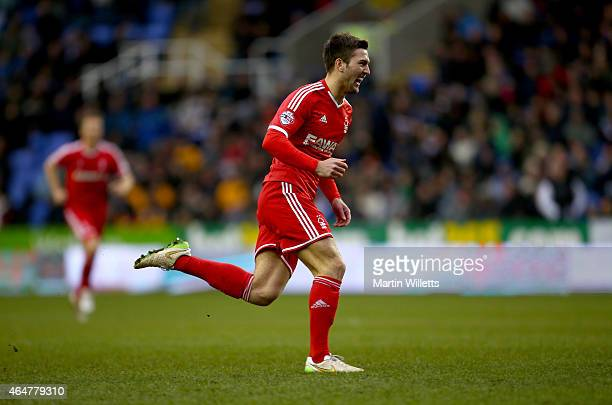 Gary Gardner of Nottingham Forest celebrates scoring the third goal during the Sky Bet Championship match between Reading and Nottingham Forest at...