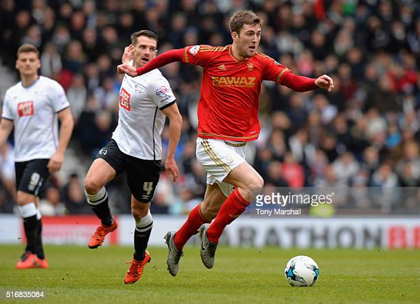 Gary Gardner of Nottingham Forest during the Sky Bet Championship match between Derby County and Nottingham Forest at the iPro Stadium on March 19...