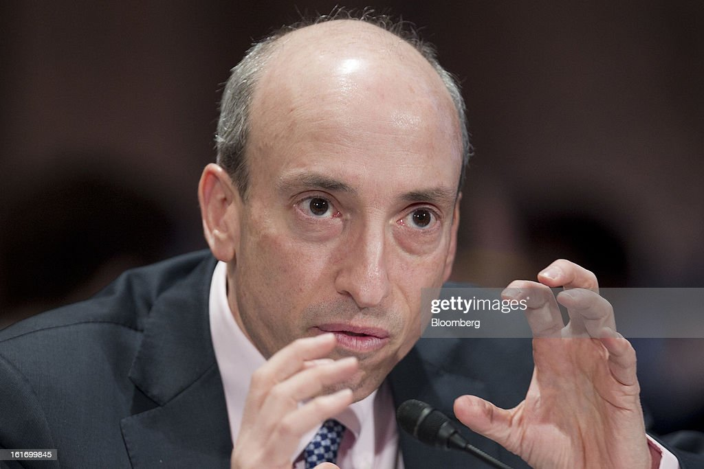 Gary Gensler, chairman of the U.S. Commodity Futures Trading Commission (CFTC), speaks during a Senate Banking Committee hearing in Washington, D.C., U.S., on Thursday, Feb. 14, 2013. U.S. regulators told lawmakers they are making significant progress to prevent a repeat of the 2008 credit crisis, pushing back against complaints of slow progress and efforts to undo parts of the Dodd-Frank Act. Photographer: Andrew Harrer/Bloomberg via Getty Images
