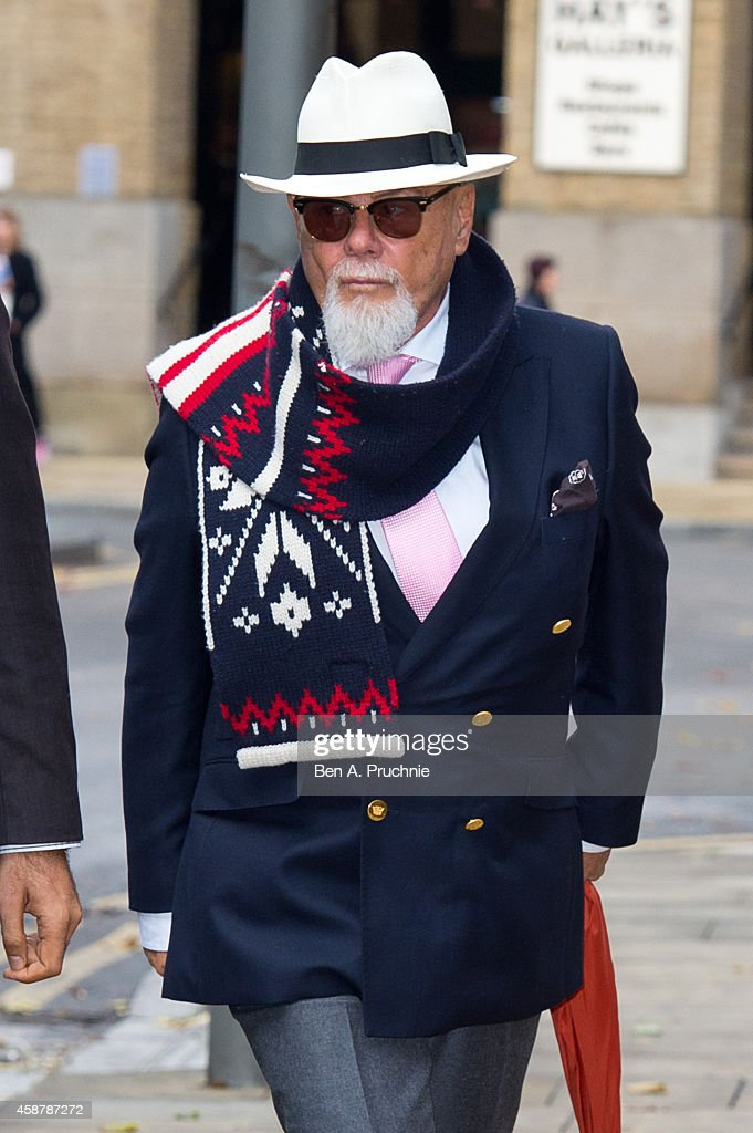 Gary Glitter, real name Paul Gadd, arrives at Southwark Crown Court charged with historic sex offences, on November 11, 2014 in London, England.