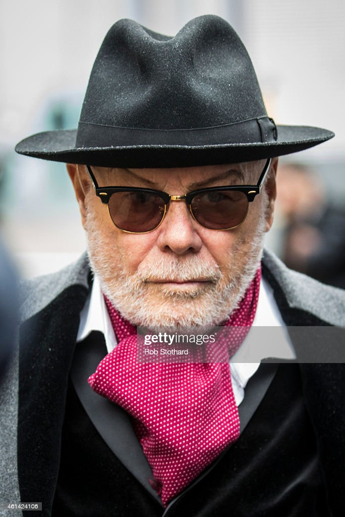 Gary Glitter, real name Paul Gadd, leaves Southwark Crown Court on January 12, 2015 in London, England.