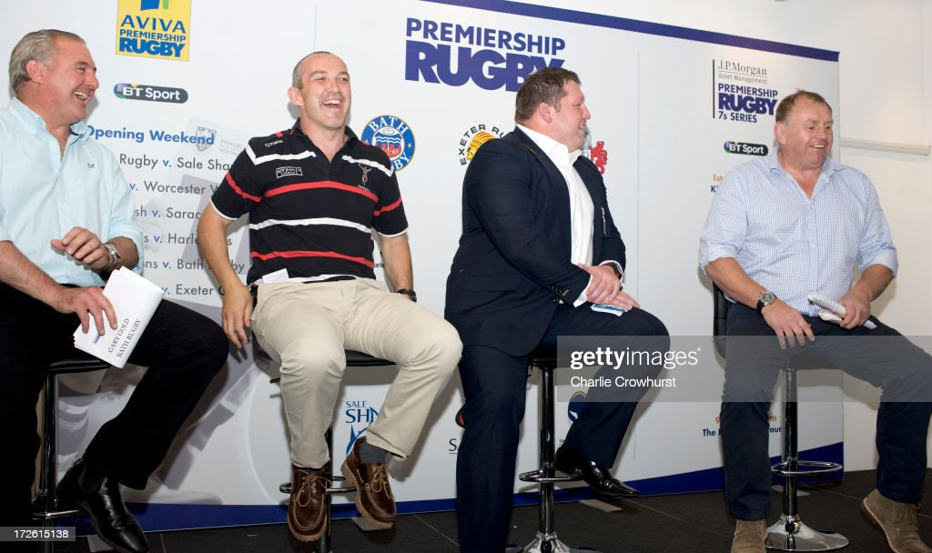 Gary Gold of Bath, Conor O'Shea of Saracens, Dai Young of Wasps, Dean Richards of Newcastle share a joke during the 2013-14 Aviva Premiership Rugby Season Fixtures Announcement at The BT Tower on July 4, 2013 in London, England.