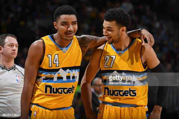 Gary Harris and Jamal Murray of the Denver Nuggets stand on the court during a game against the Memphis Grizzlies on February 26 2017 at the Pepsi...