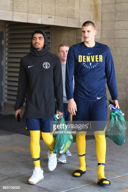 Gary Harris and Nikola Jokic of the Denver Nuggets leave practice prior to the game against the Utah Jazz on October 18 2017 at the Vivint Smart Home...