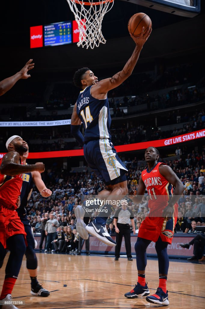 Gary Harris #14 of the Denver Nuggets drives to the basket against the New Orleans Pelicans on December 15, 2017 at the Pepsi Center in Denver, Colorado.