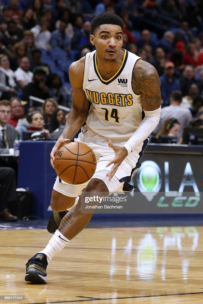 Gary Harris #14 of the Denver Nuggets drives with the ball during the second half of a game against the New Orleans Pelicans at the Smoothie King Center on December 6, 2017 in New Orleans, Louisiana.