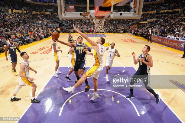Gary Harris of the Denver Nuggets goes to the basket against the Los Angeles Lakers on November 19 2017 at STAPLES Center in Los Angeles California...