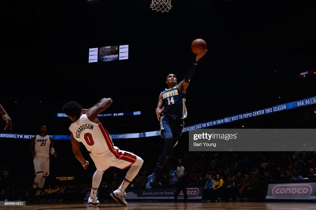 Gary Harris #14 of the Denver Nuggets goes to the basket against the Miami Heat on November 3, 2017 at the Pepsi Center in Denver, Colorado.