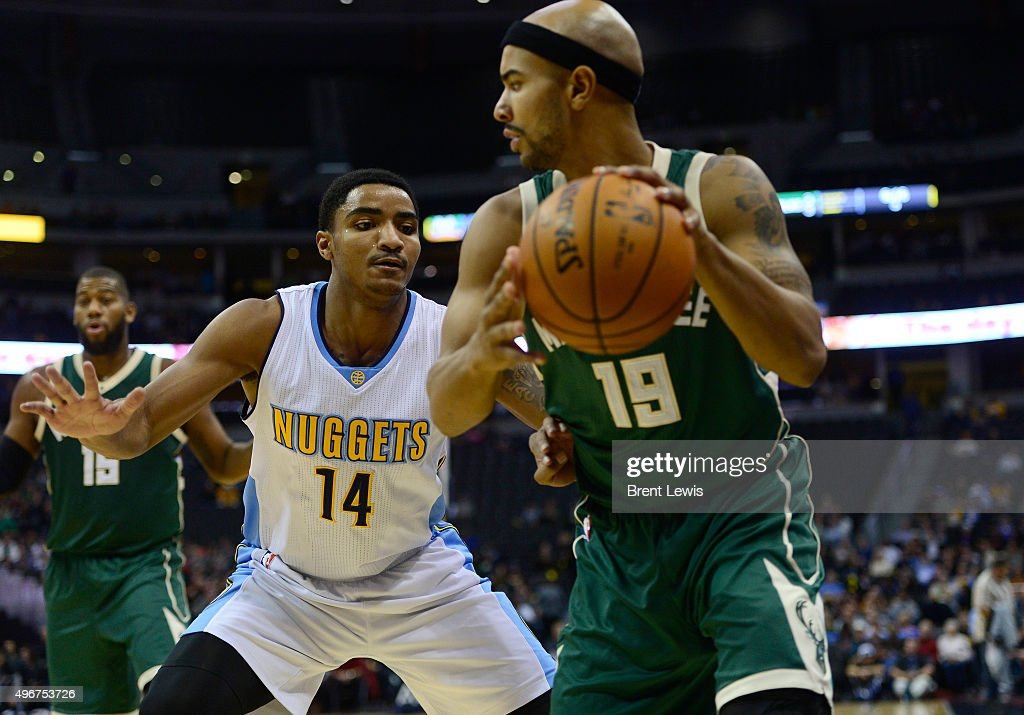 <a gi-track='captionPersonalityLinkClicked' href=/galleries/search?phrase=Gary+Harris+-+Basketball+Player&family=editorial&specificpeople=10612733 ng-click='$event.stopPropagation()'>Gary Harris</a> (14) of the Denver Nuggets guards <a gi-track='captionPersonalityLinkClicked' href=/galleries/search?phrase=Jerryd+Bayless&family=editorial&specificpeople=4216027 ng-click='$event.stopPropagation()'>Jerryd Bayless</a> (19) of the Milwaukee Bucks during the third quarter at the Pepsi Center on November 11, 2015 in Denver, Colorado.