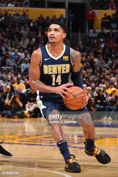 Gary Harris of the Denver Nuggets handles the ball against the Los Angeles Lakers on November 19 2017 at STAPLES Center in Los Angeles California...