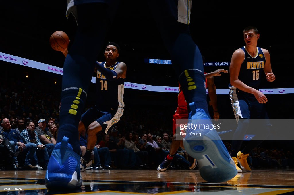 Gary Harris #14 of the Denver Nuggets handles the ball against the New Orleans Pelicans on December 15, 2017 at the Pepsi Center in Denver, Colorado.