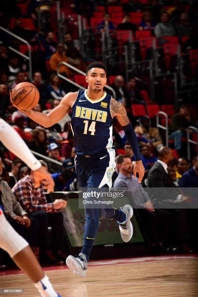Gary Harris #14 of the Denver Nuggets handles the ball against the Detroit Pistons on December 12, 2017 at Little Caesars Arena in Detroit, Michigan.