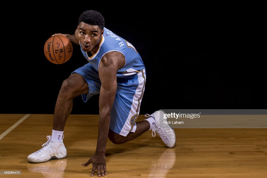 Gary Harris of the Denver Nuggets poses for a portrait during the 2014 NBA rookie photo shoot at MSG Training Center on August 3 2014 in Tarrytown...