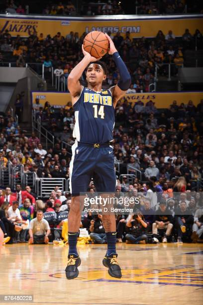 Gary Harris of the Denver Nuggets shoots the ball against the Los Angeles Lakers on November 19 2017 at STAPLES Center in Los Angeles California NOTE...