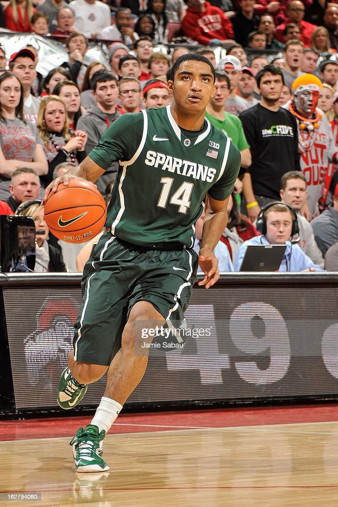 Gary Harris #14 of the Michigan State Spartans controls the ball against the Ohio State Buckeyes on February 24, 2013 at Value City Arena in Columbus, Ohio.