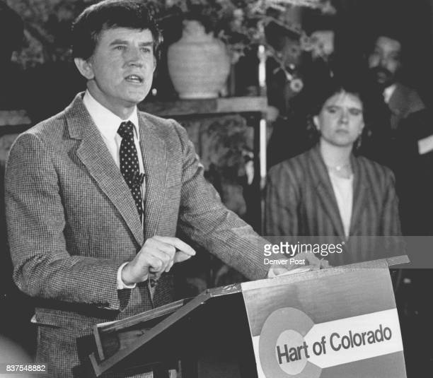 Gary Hart announced today at the El Rancho Reasturant that he was not running for reelection to the Senate On his left is his daughter Andrea Credit...