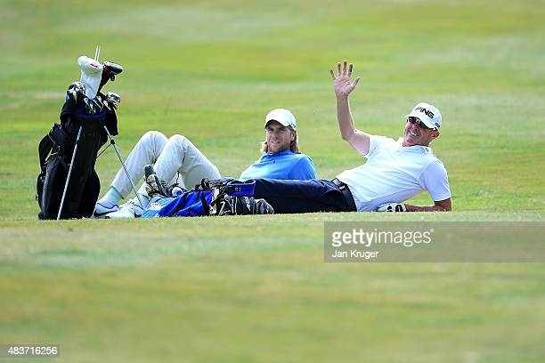 Gary Hendley of Stepaside Golf Centre and Ben Daniels of Bletchingley GC has a rest during slow play on day one of the Golfbreakscom PGA Fourball...