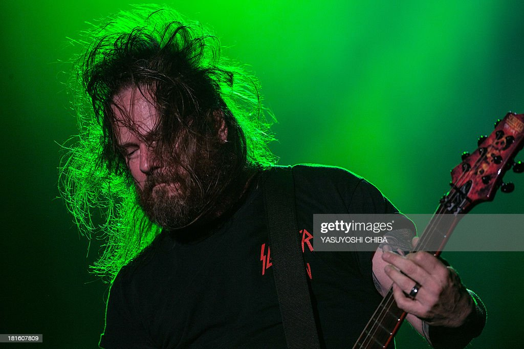 Gary Holt of US thrash metal band Slayer performs during the final day of the Rock in Rio music festival in Rio de Janeiro, Brazil, on September 22, 2013.