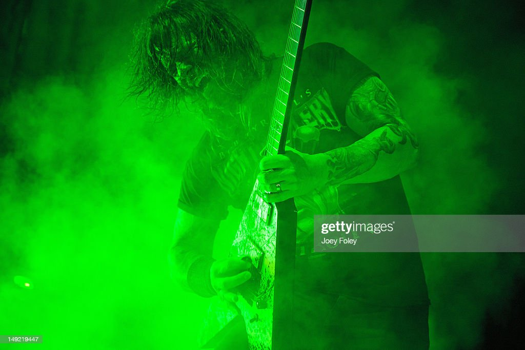 Gary Holt performs onstage with SLAYER during the 2012 Rockstar Energy Drink Mayhem Festival at the Riverbend Music Center on July 24, 2012 in Cincinnati, Ohio.
