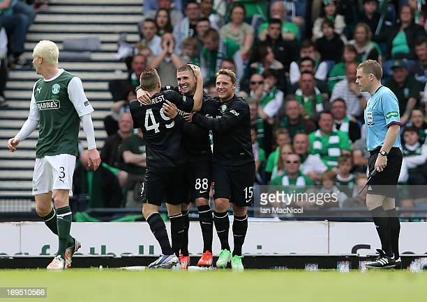 Gary Hooper of Celtic celebrates after he scores the second goal during the William Hill Scottish Cup Final match between Celtic and Hibernian at...