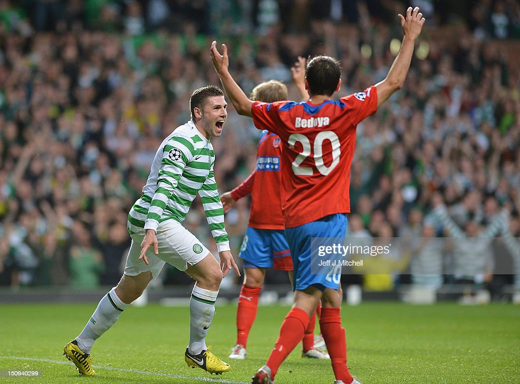 Gary Hooper of Celtic celebrates after scoring during the UEFA Champions League Play Off Round between Celtic and Helsingborgs IF at Celtic Park on August 29, 2012 in Glasgow, Scotland.