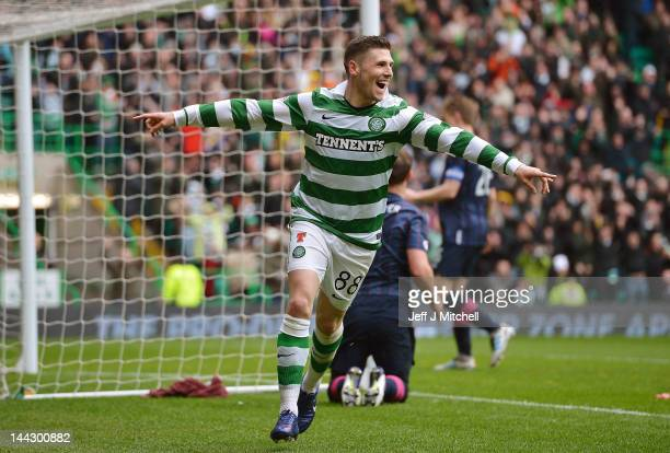 Gary Hooper of Celtic celebrates after scoring his fourth goal during the Clydesdale Bank Premier League match between Celtic and Hearts at Celtic...