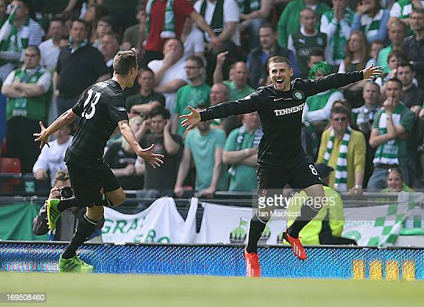 Gary Hooper of Celtic celebrates after scoring the opening goal of the William Hill Scottish Cup Final match between Celtic and Hibernian at Hampden...