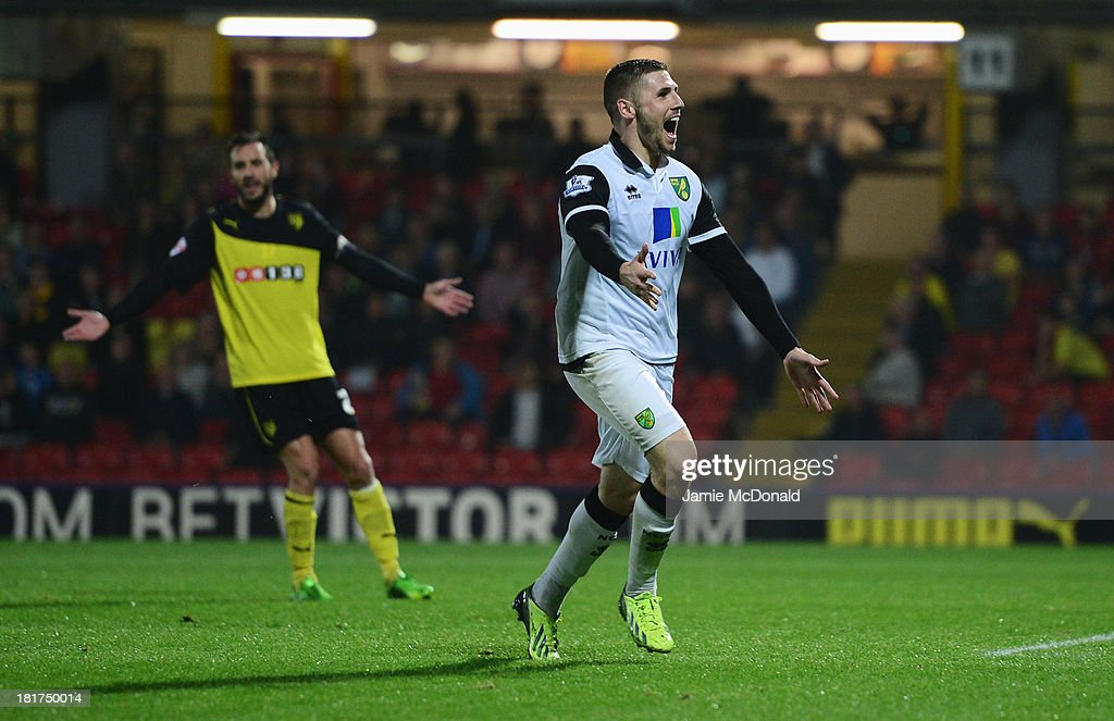 Gary Hooper of Norwich City celebrates as he scores their third goal during the Capital One Cup Third Round match between Watford and Norwich City at Vicarage Road on September 24, 2013 in Watford, England.