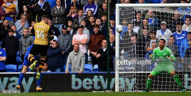 Gary Hooper of Sheffield Wednesday scores his sides first goal during the Sky Bet Championship match between Cardiff City and Sheffield Wednesday at...
