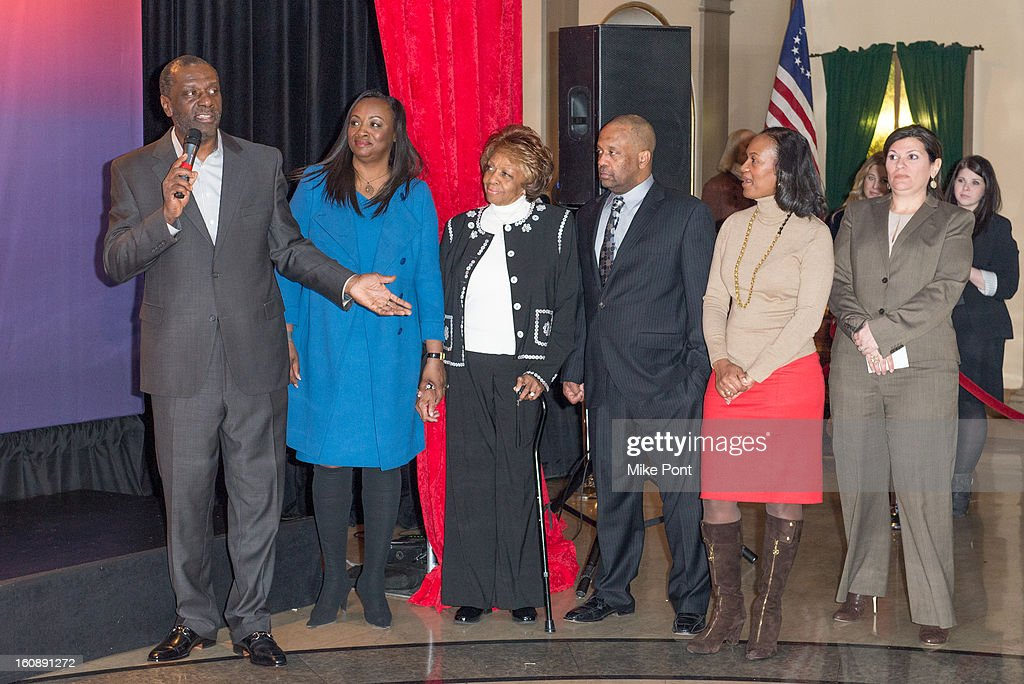 Gary Houston, Pat Houston and <a gi-track='captionPersonalityLinkClicked' href=/galleries/search?phrase=Cissy+Houston&family=editorial&specificpeople=1019962 ng-click='$event.stopPropagation()'>Cissy Houston</a> attend Madame Tussauds Whitney Houston Wax Unveiling at Madame Tussauds on February 7, 2013 in New York City.