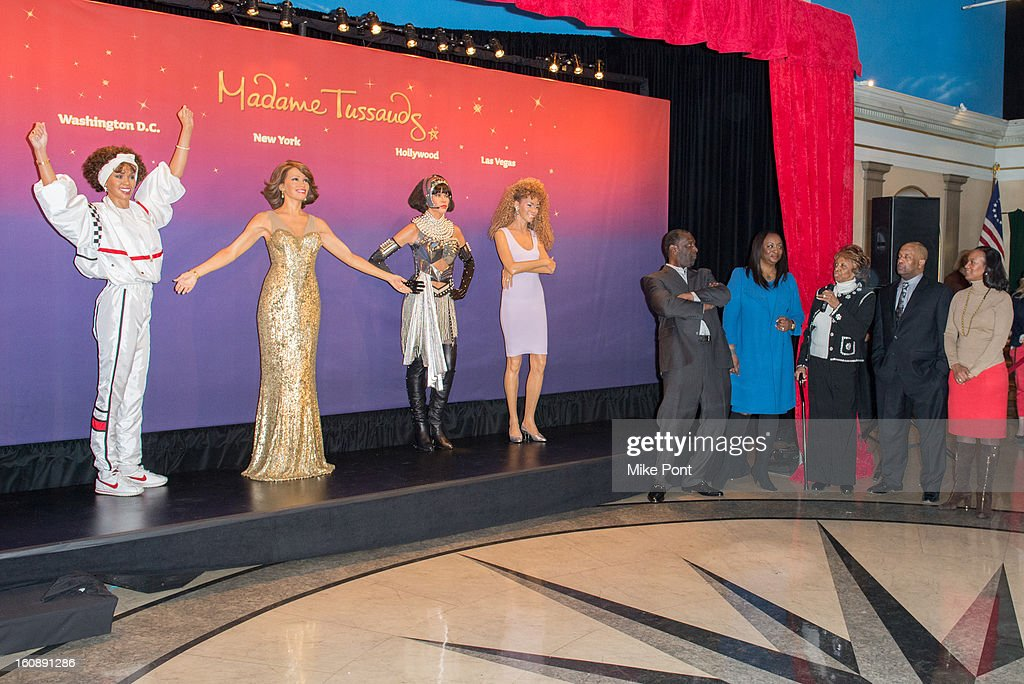 Gary Houston, Pat Houston and Cissy Houston attend Madame Tussauds Whitney Houston Wax Unveiling at Madame Tussauds on February 7, 2013 in New York City.