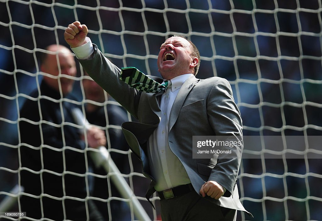 Gary Johnson of Yeovil Town celebrates promotion during the npower League One play off final between Brentford and Yeovil Town at Wembley Stadium on May 19, 2013 in London, England.