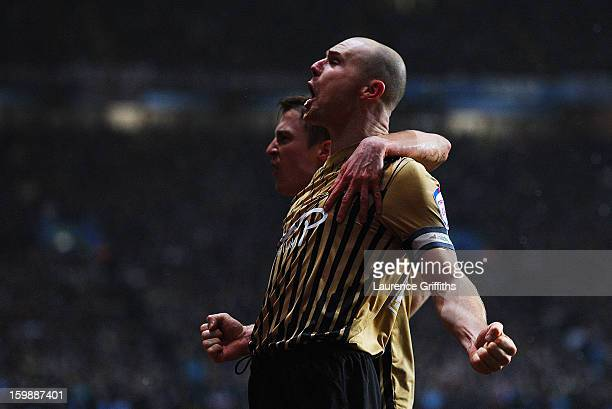 Gary Jones of Bradford City celebrates his team's first goal during the Capital One Cup SemiFinal Second Leg between Aston Villa and Bradford City at...