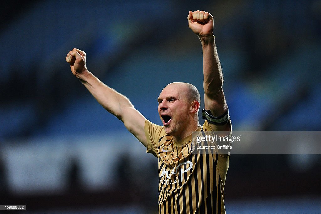 Gary Jones of Bradford City celebrates reaching the final at the end of the Capital One Cup Semi-Final Second Leg between Aston Villa and Bradford City at Villa Park on January 22, 2013 in Birmingham, England.