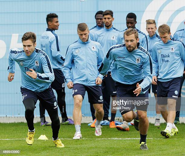 Gary Kagelmacher of 1860 Muenchen and Kai Bulow in action during team training at 1860 Muenchen training grounds on September 25 2015 in Munich...
