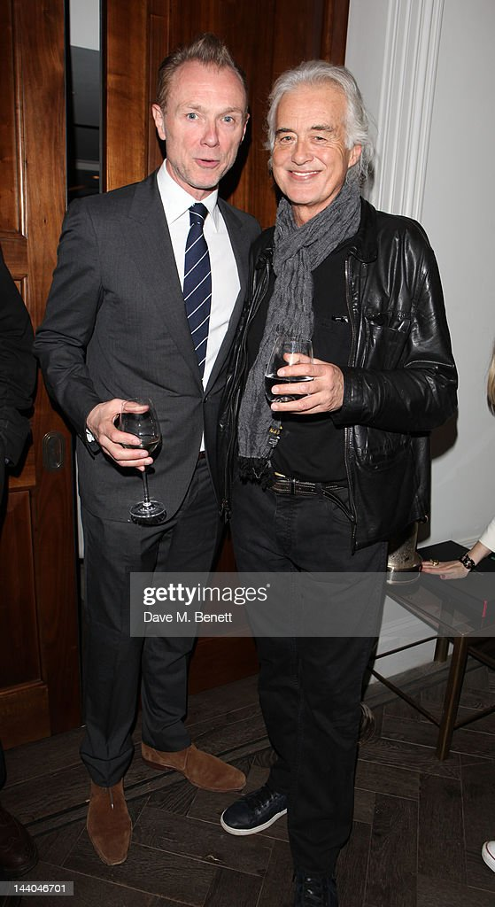 Gary Kemp and Jimmy Page attend a party to launch the book 'Speed of Life,' containing photographs of David Bowie, by Masayoshi Sukita at the Arts Club on May 8, 2012 in Dover St, London.