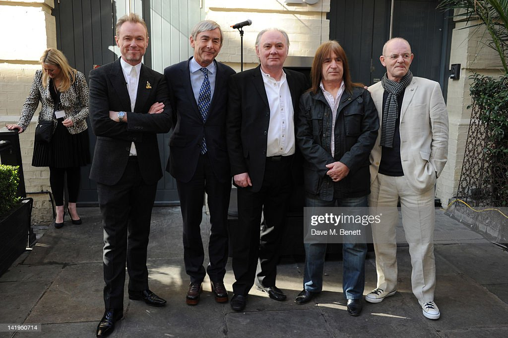Gary Kemp, David Shaw, Terry Pastor, Trevor Bolder and Woody Woodmansey attend the unveiling of a plaque dedicated to David Bowie's famous character Ziggy Stardust on March 27, 2012 in London, England. The plaque has been installed on Heddon Street, London, which was the location of the album cover photograph for 'The Rise and Fall of Ziggy Stardust and the Spiders from Mars'. Pic shows ; David Shaw ;Terry Pastor ; Trevor Bolder ; Woody Woodmansey ; Gary Kemp Dave Benett