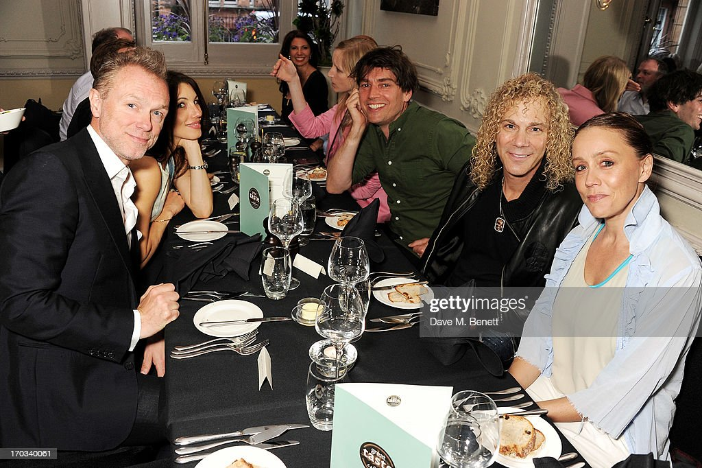 Gary Kemp, Lauren Kemp, Alex James, Bon Jovi keyboardist David Bryan and Kate Spicer attend a private dinner previewing the new 'Alex James Presents' Blue Monday cheese at The Cadogan Hotel on June 11, 2013 in London, England.