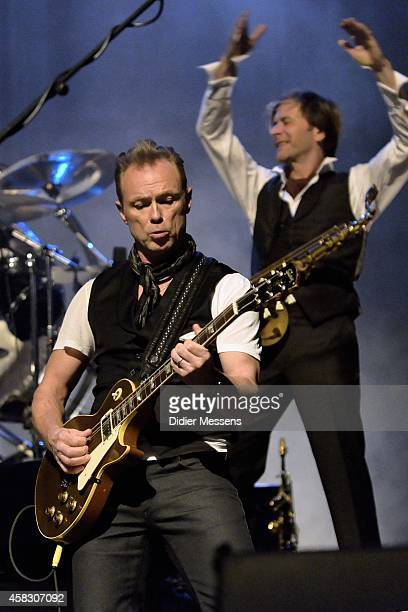 Gary Kemp of Spandau Ballet performs on stage after the screening of the the 'Soul Boys of the Western World' documentary on October 23 2014 in Ghent...