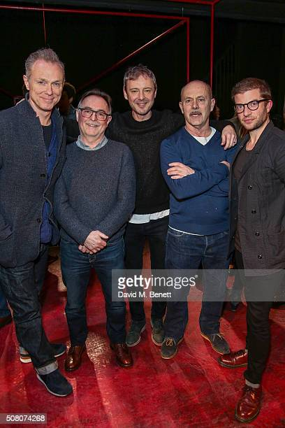 Gary Kemp Ron Cook John Simm Keith Allen and Jamie Lloyd attend a photocall as the cast of 'The Homecoming' hands over to the cast of 'The Maids' at...