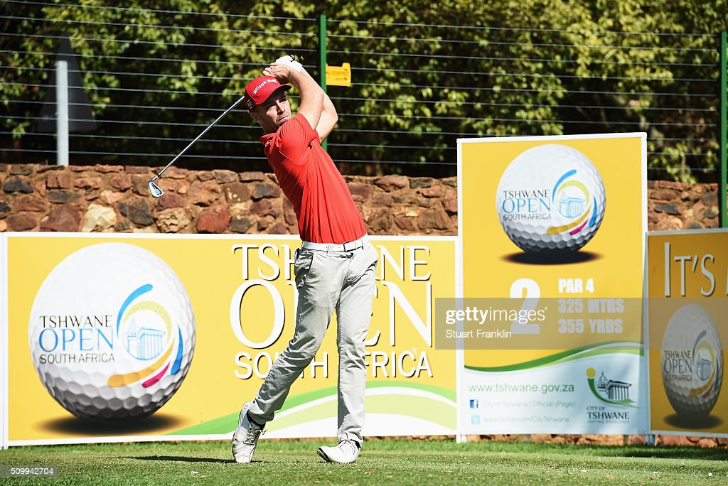 Gary King of England plays a shot during the third round of the Tshwane Open at Pretoria Country Club on February 13, 2016 in Pretoria, South Africa.