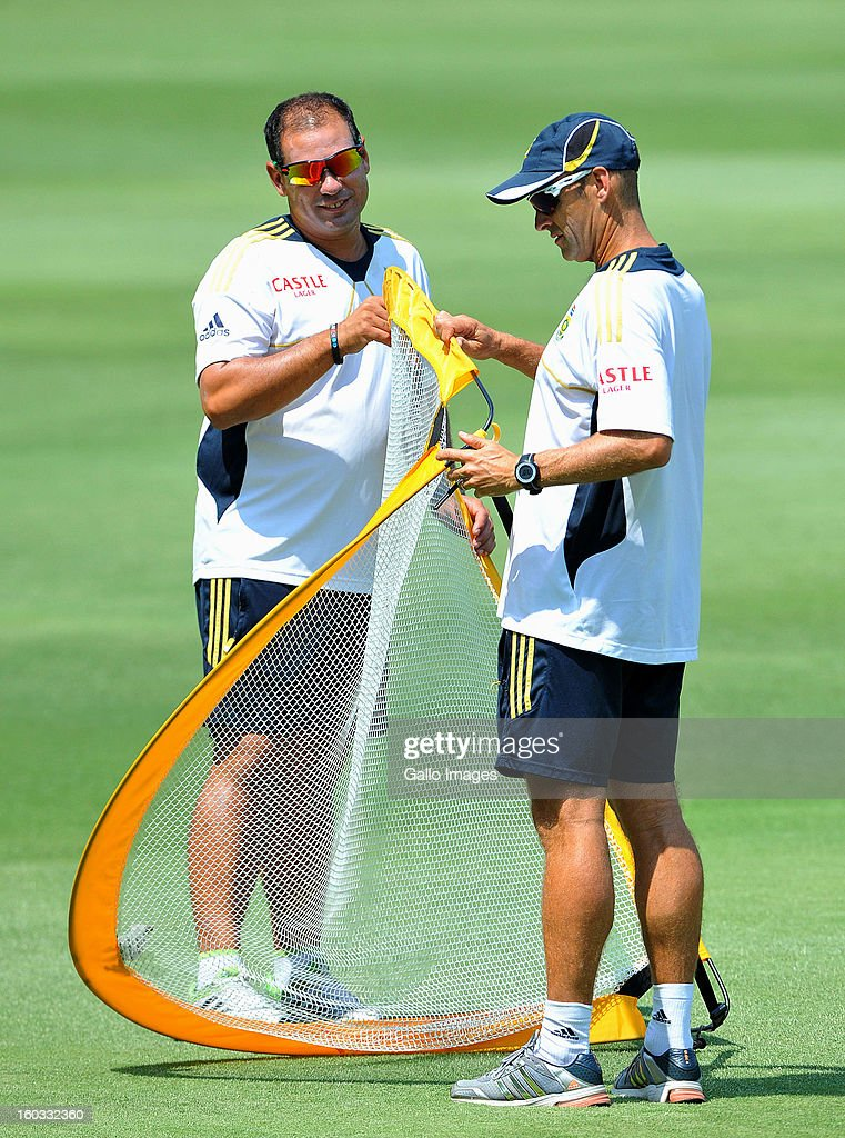 Gary Kirsten and Russell Domingo during a South Africa National cricket team training session ahead of Graeme Smith's 100th Test as captain at Sandton City on January 29, 2013 in Johannesburg, South Africa.