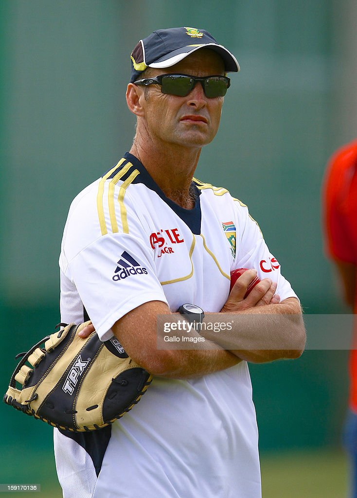 <a gi-track='captionPersonalityLinkClicked' href=/galleries/search?phrase=Gary+Kirsten&family=editorial&specificpeople=228142 ng-click='$event.stopPropagation()'>Gary Kirsten</a> during the South African national cricket team training session at Axxess St Georges on January 09, 2013 in Port Elizabeth, South Africa.