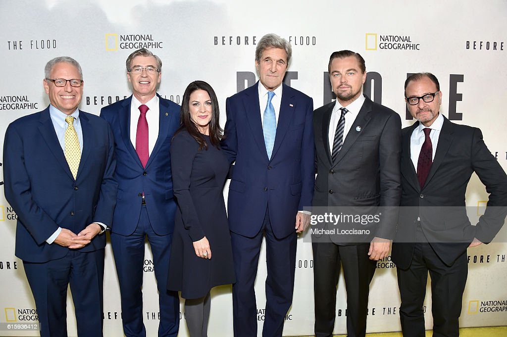 Gary Knell, Declan Moore, Courteney Monroe, John Kerry, Leonardo DiCaprio and Fisher Stevens attend the National Geographic Channel 'Before the Flood' screening at United Nations Headquarters on October 20, 2016 in New York City.