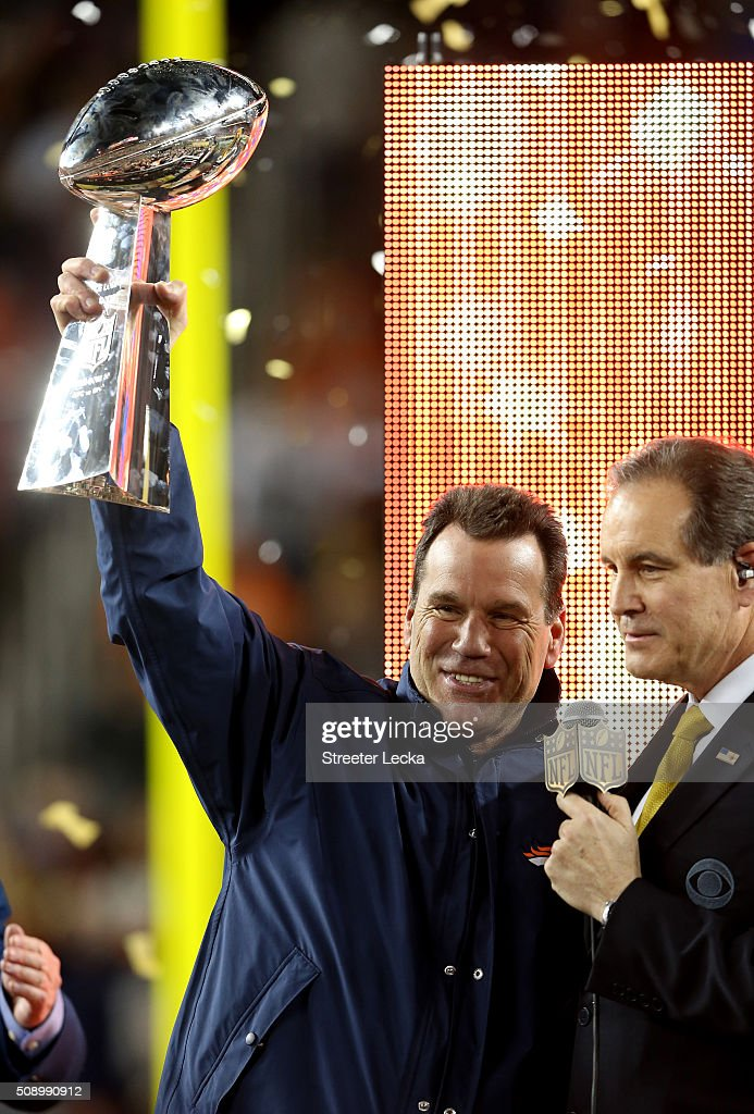<a gi-track='captionPersonalityLinkClicked' href=/galleries/search?phrase=Gary+Kubiak&family=editorial&specificpeople=614731 ng-click='$event.stopPropagation()'>Gary Kubiak</a> of the Denver Broncos celebrates with the Vince Lombardi Trophy after winning Super Bowl 50 at Levi's Stadium on February 7, 2016 in Santa Clara, California. The Denver Broncos defeated the Carolina Panthers 24-10.