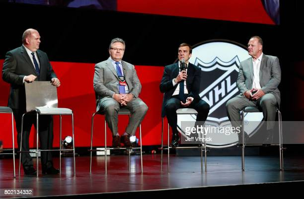 Gary Lawless assistant general manager Kelly McCrimmon general manager George McPhee and head coach Gerard Gallant of the Vegas Golden Knights speak...