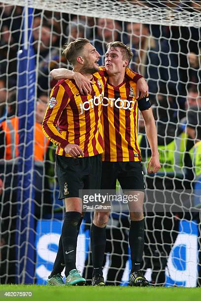 Gary Liddle of Bradford City and Aaron McLean of Bradford City celebrate following their team's 42 victory during the FA Cup Fourth Round match...