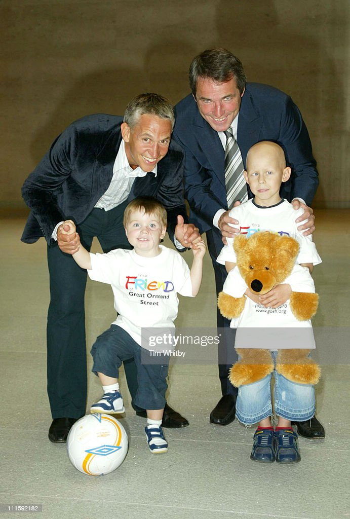 Gary Lineker and Alan Hansen with Tommy Morgan (3) and Ethan Foster (6), who are both Great Ormond Street Hospital patients