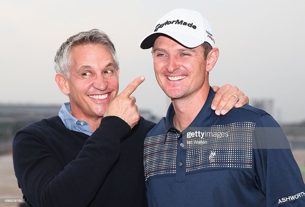 Gary Lineker and Justin Rose during the British Airways golf challenge at Heathrow Airport on September 29, 2014 in London, England. British Airways has donated flights to the Kate and Justin Rose foundation, which was created to inspire children through nutrition, education and experiences