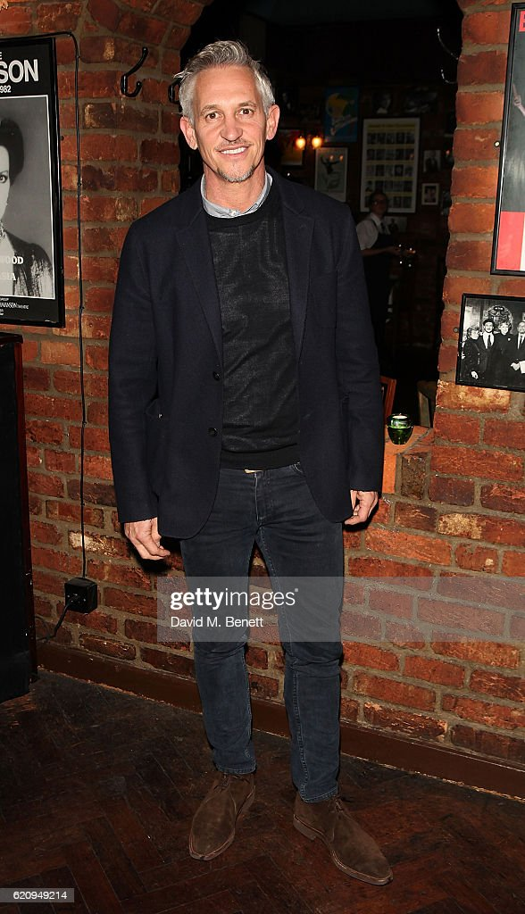 Gary Lineker attends the press night after party for 'Dead Funny' at Joe Allen Restaurant on November 3, 2016 in London, England.